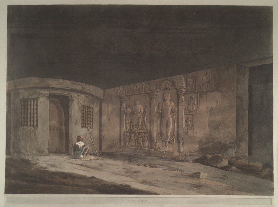 'Kondooty'.  Coloured aquatint by Thomas Daniell after James Wales.  Plate 1 of  [Antiquities of India], published by T Daniell, London, 1803.